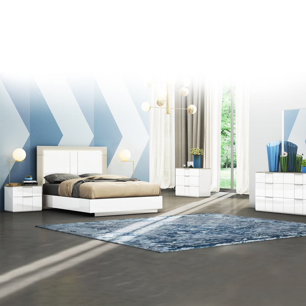 King Bed (183 x 203)cm + 2 Night Stands, White/Flannel Grey