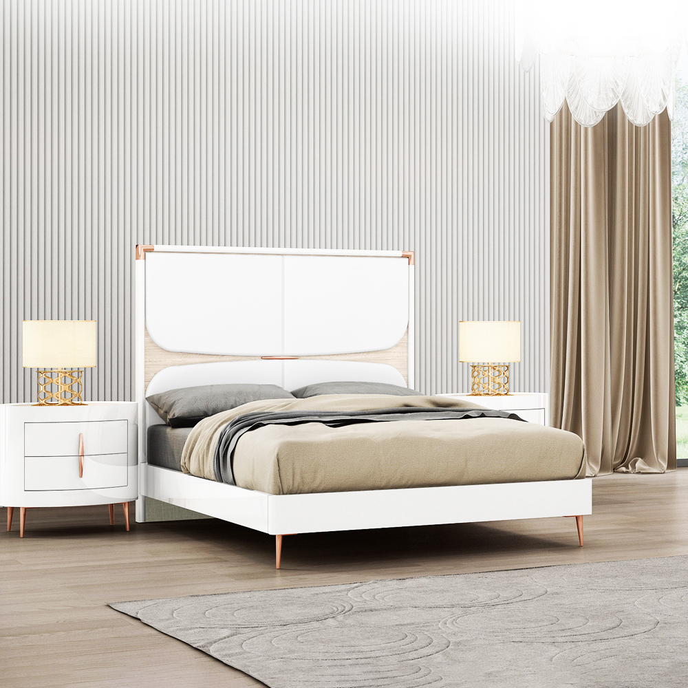 Queen Bed (153 x 203)cm + 2 Night Stands, White/Beige Angley