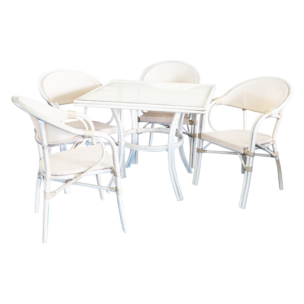 Dining Table (90x90x75)cm + 4 Side Chairs, Grey/White Wash 1