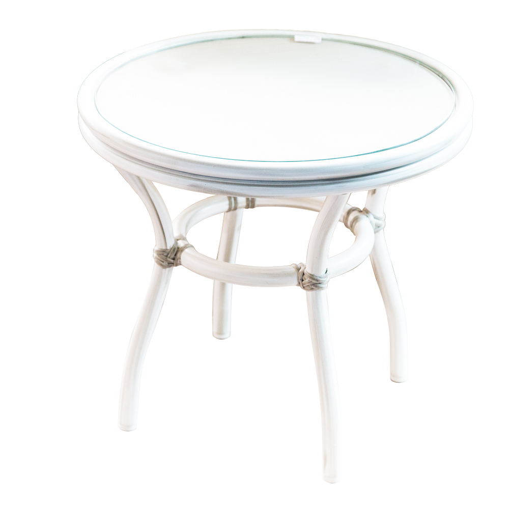 Round Coffee Table, Glass Top, Grey/White Wash