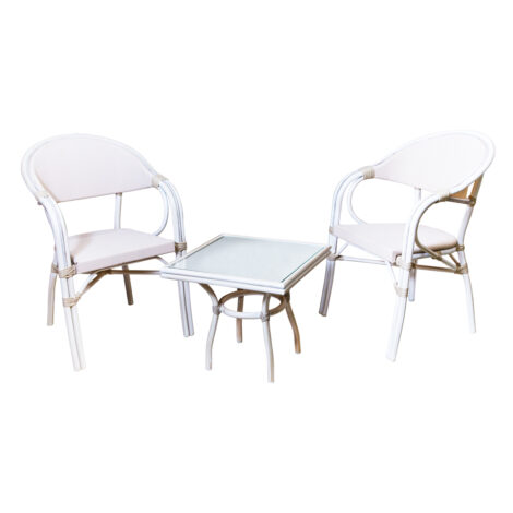 Square Coffee Table + 2 Side Chairs, Grey/White Wash 1