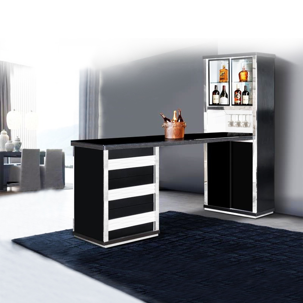 Bar Counter; (69.5x200x198)cm, Black
