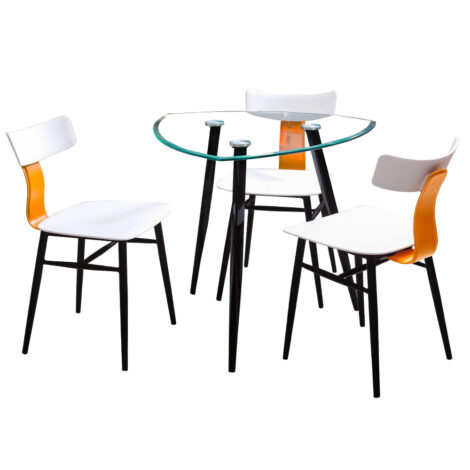 Dining Table (80×73)cm, Glass Top + 3 Fabric Side Chairs, White/Black 1