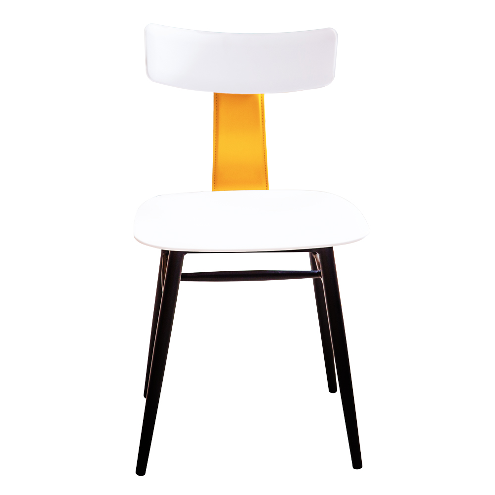 Dining Table (80x73)cm, Glass Top + 3 Fabric Side Chairs, White/Black