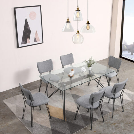 Cessna Dining Table-Glass Top (1.6x0.9M)