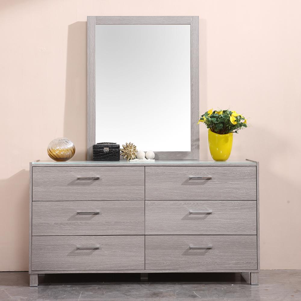 Veneto 2-M(24) Double Dresser: (149.8x50.6x79.8)cm + Mirror , Grey Oak
