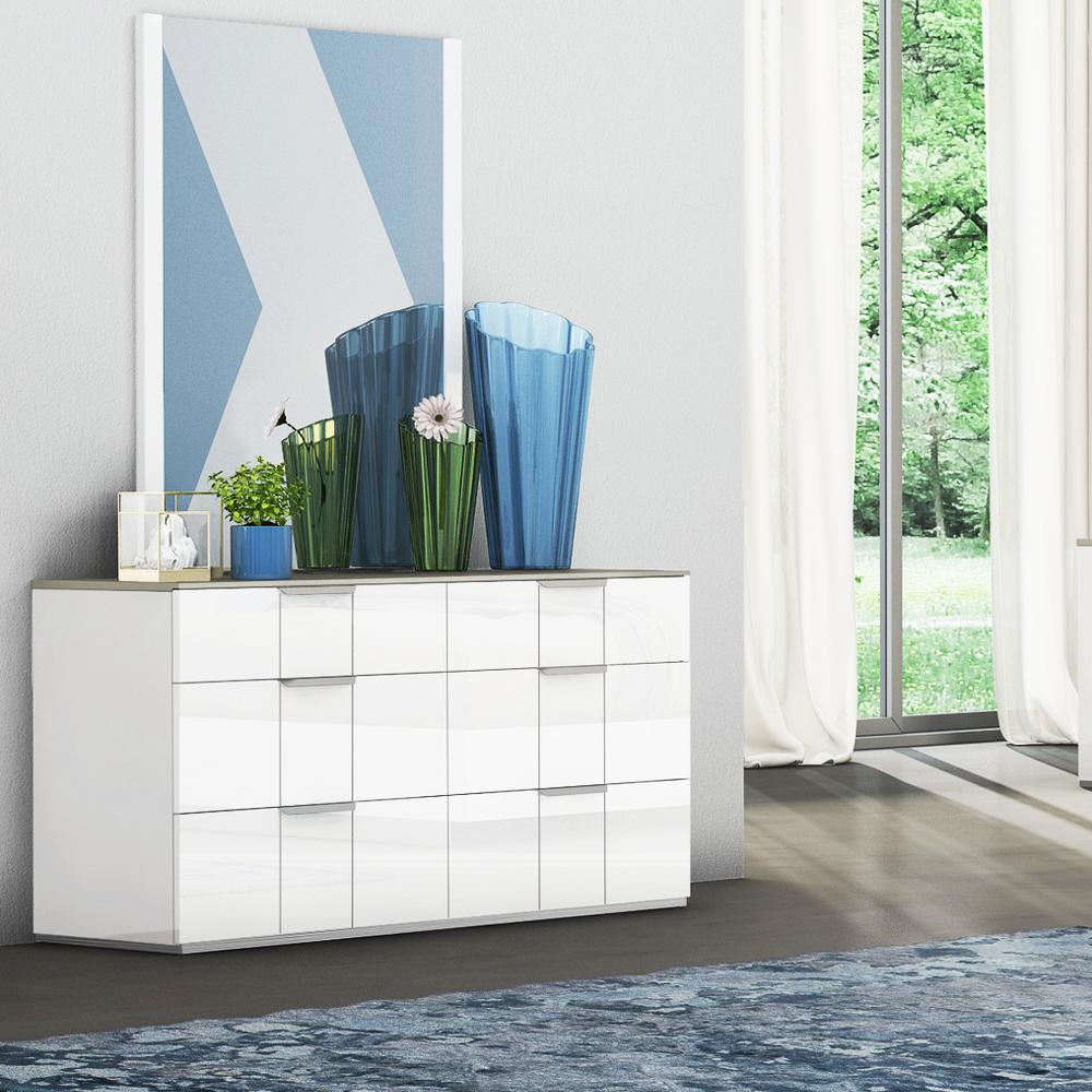 Dresser; (145.5x48.5x76)cm + Mirror; (90x2x120)cm, White/Flannel Grey