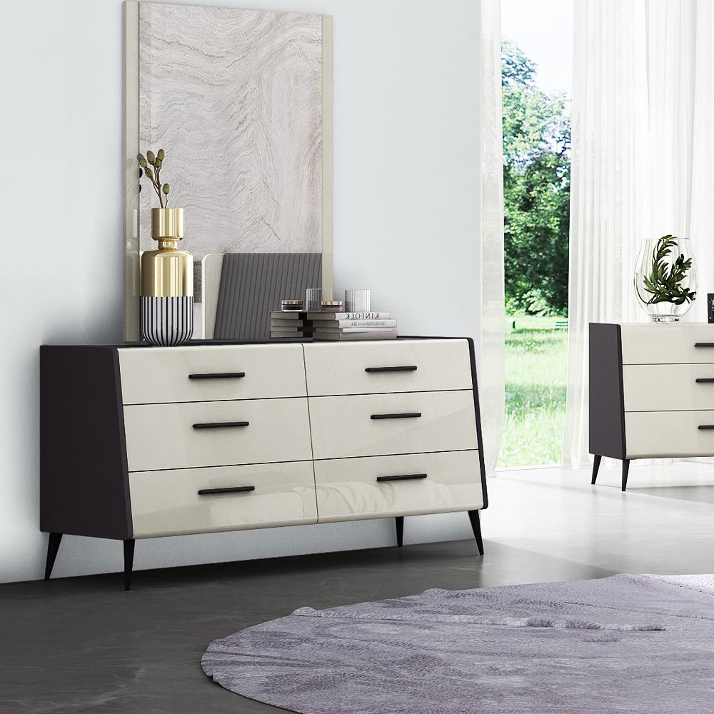 Dresser; (156.5x52x81)cm + Mirror; (90x2x120)cm, Grey Lacquer