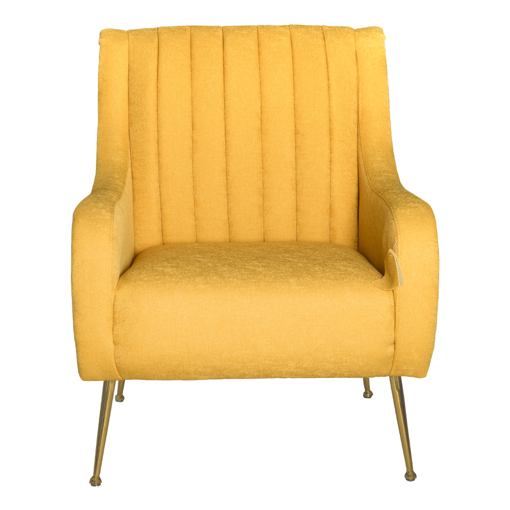Fabric Arm Chair: 1-Seater- (74x87x94)cm, Yellow 1