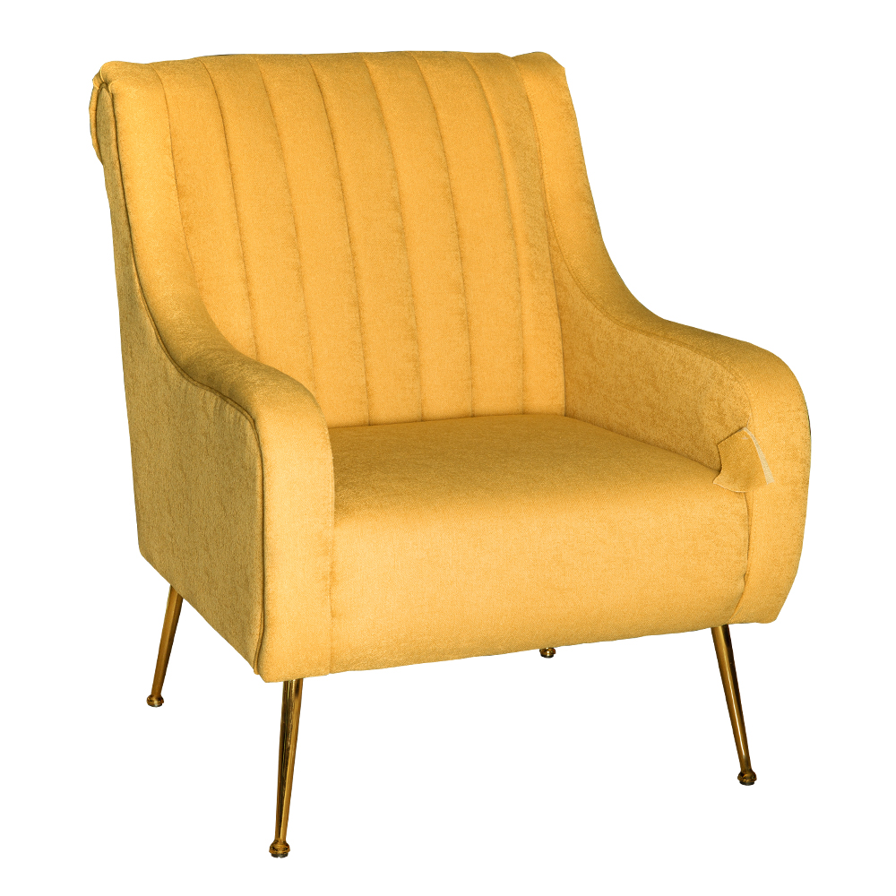 Fabric Arm Chair: 1-Seater- (74x87x94)cm, Yellow