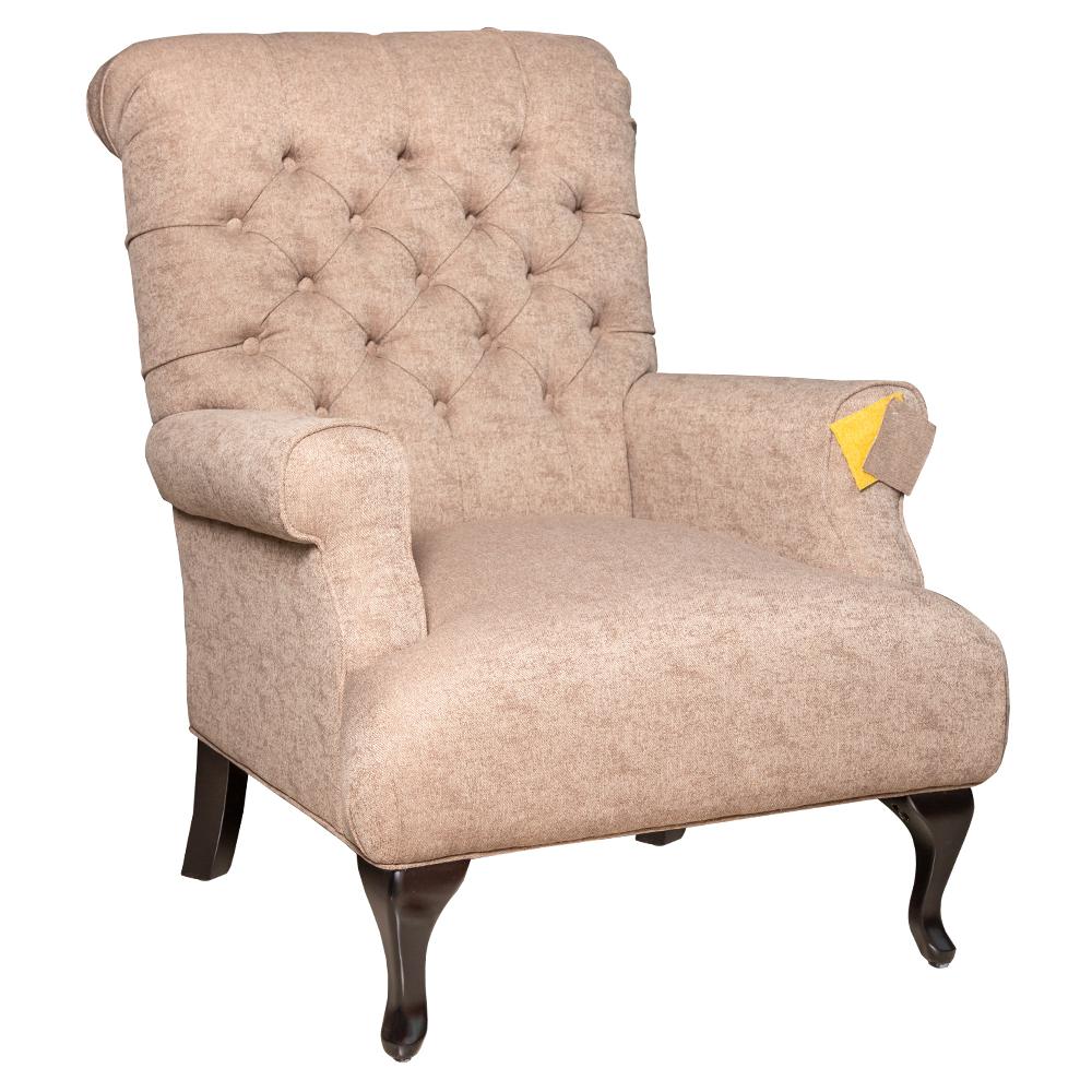 Fabric Arm Chair: 1-Seater- (81x94x105)cm, Chocolate