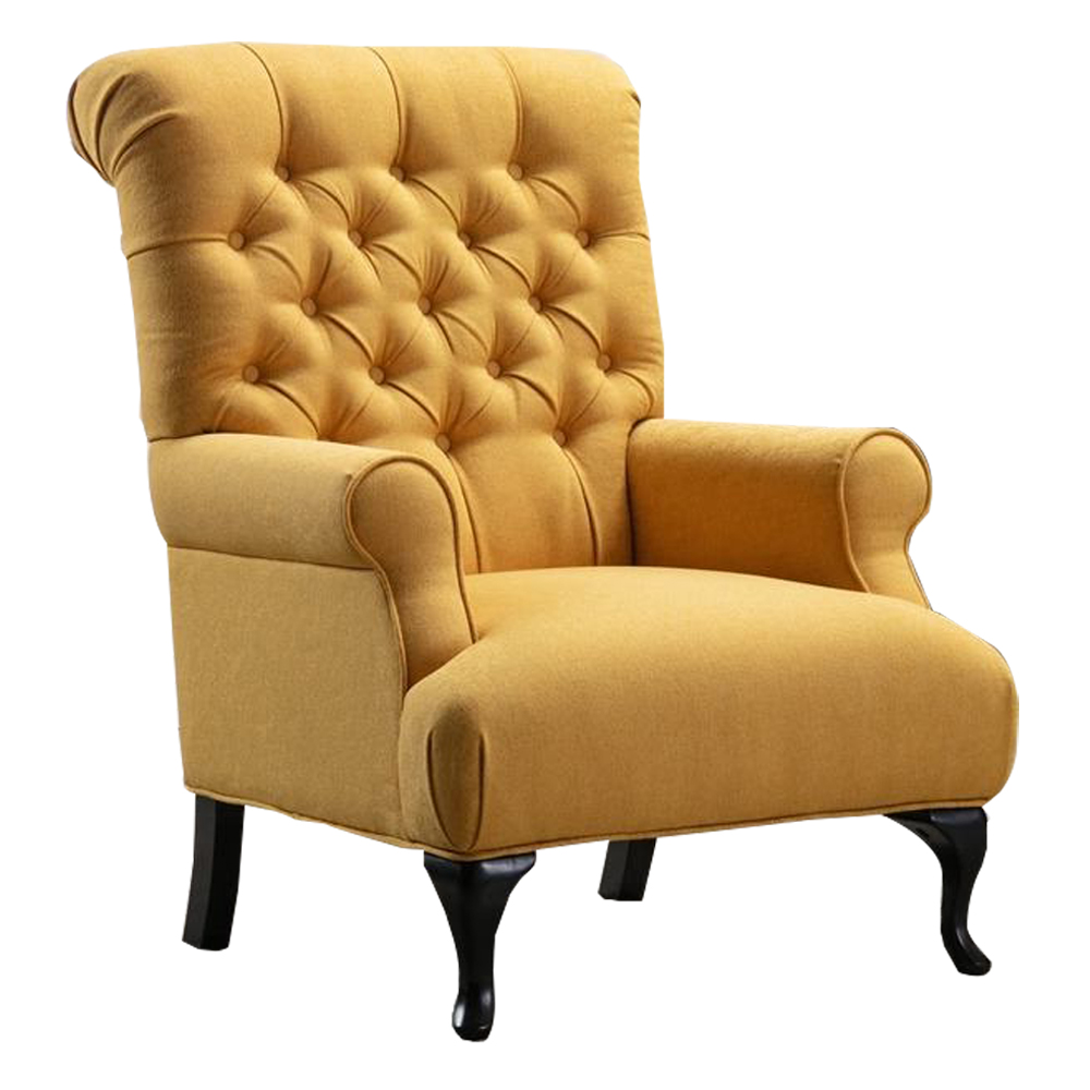 Fabric Arm Chair: 1-Seater- (81x94x105)cm, Yellow 1