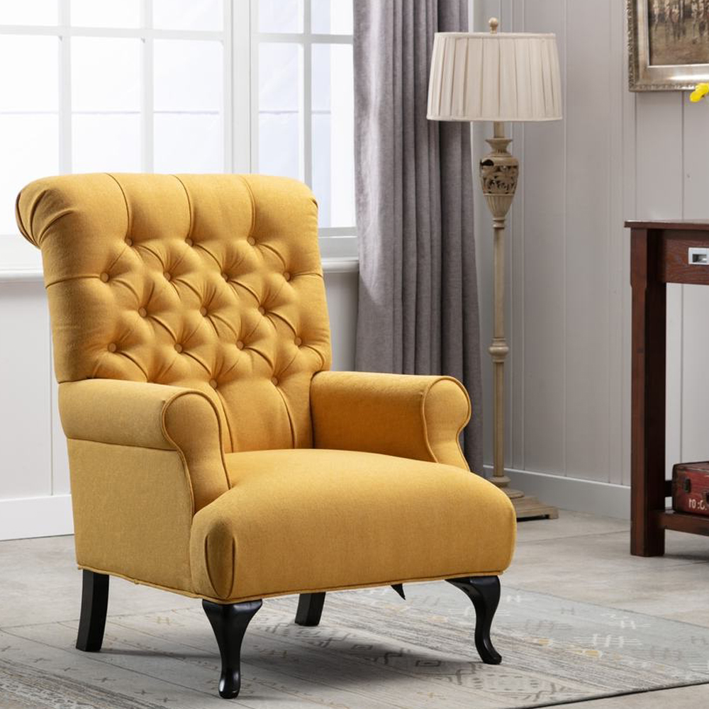 Fabric Arm Chair: 1-Seater- (81x94x105)cm, Yellow