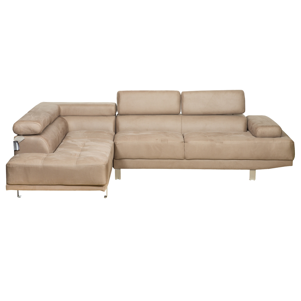 Fabric Corner Sofa With Chaise; Left, Taupe 1