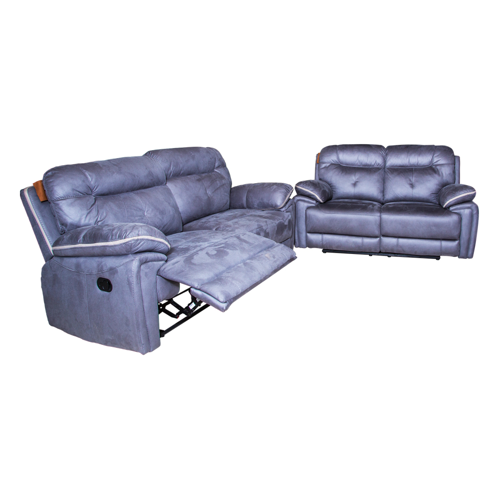 Small Fabric Recliner Sofa; 5 Seater (3RR+2RR), Cloudy Blue 1