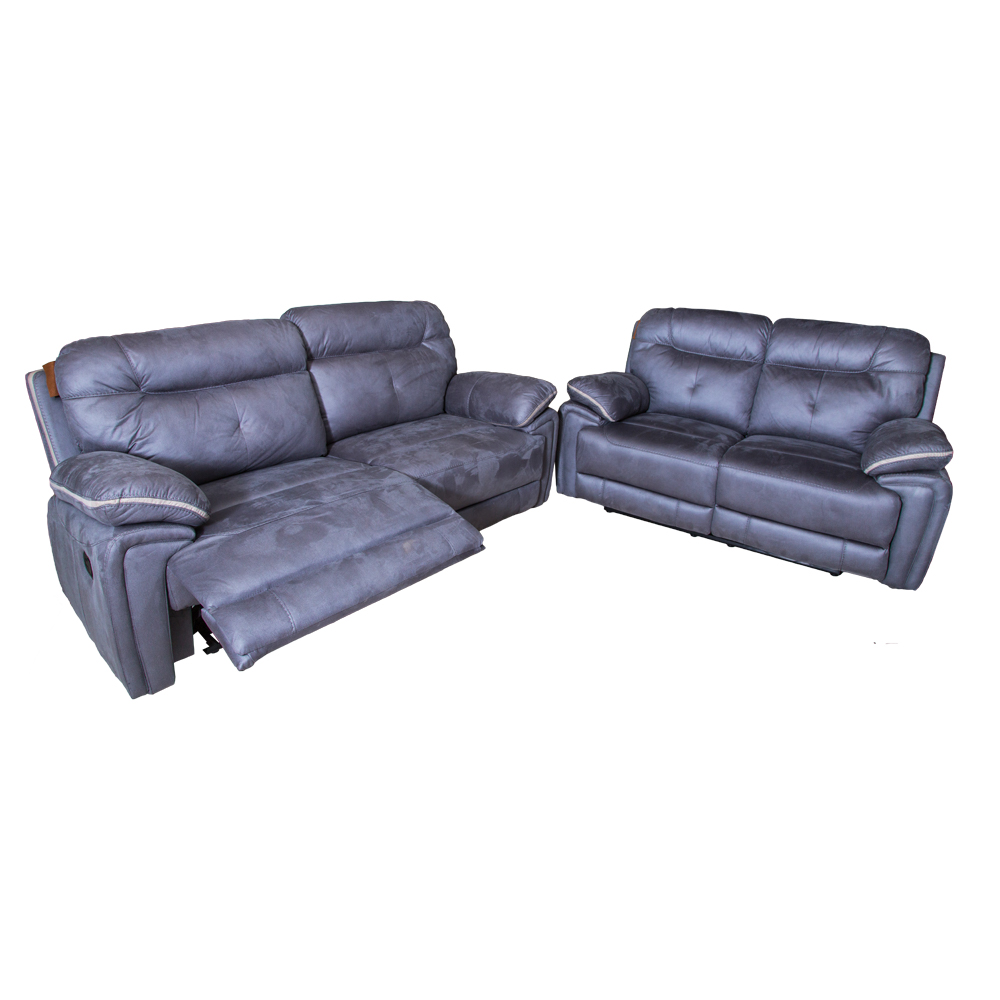 Small Fabric Recliner Sofa; 5 Seater (3RR+2RR), Cloudy Blue