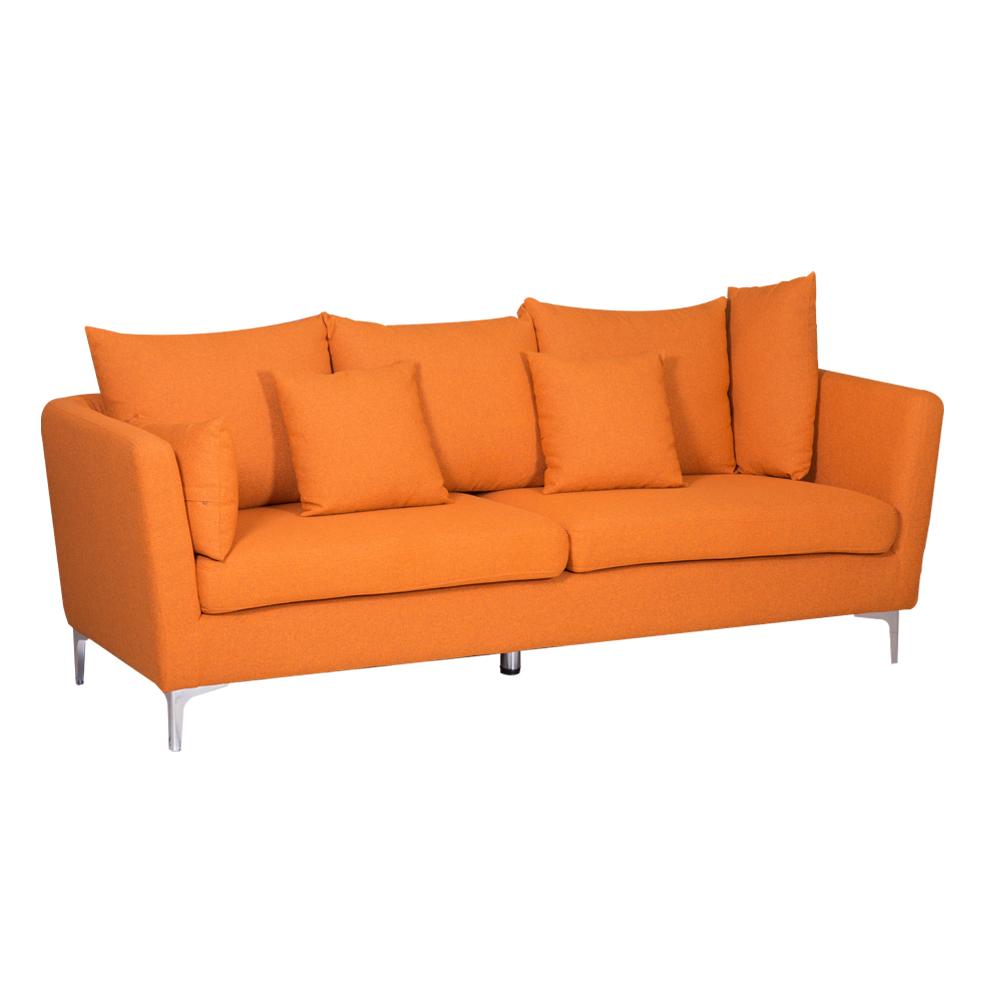 Fabric Sofa: (220x54/87x46/90)cm, Light Orange