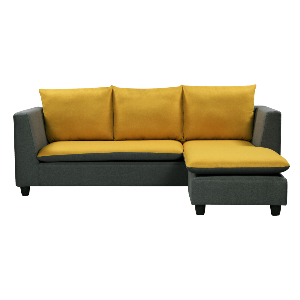 Fabric L-Shaped Sofa With Chaise: (210×90/165×69/83)cm, Grey Yellow 1
