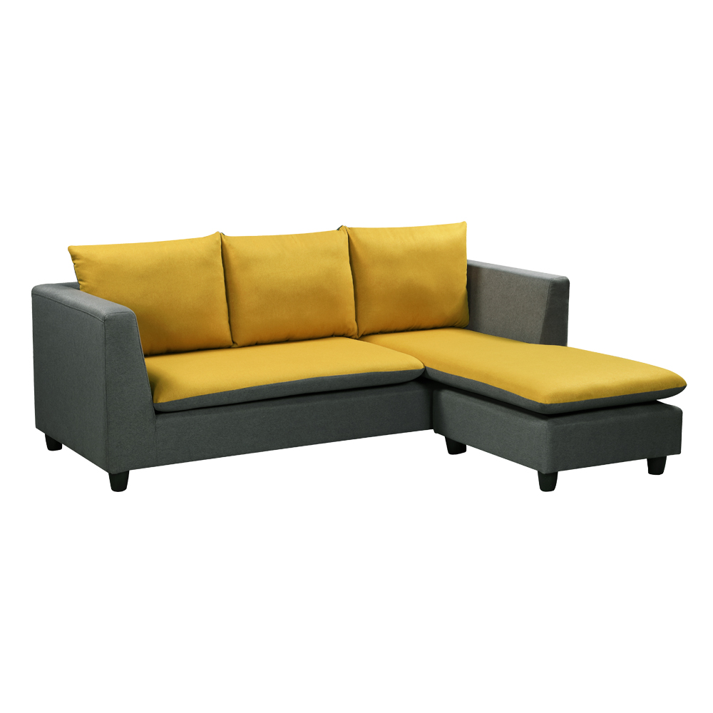 Fabric L-Shaped Sofa With Chaise: (210x90/165x69/83)cm, Grey Yellow