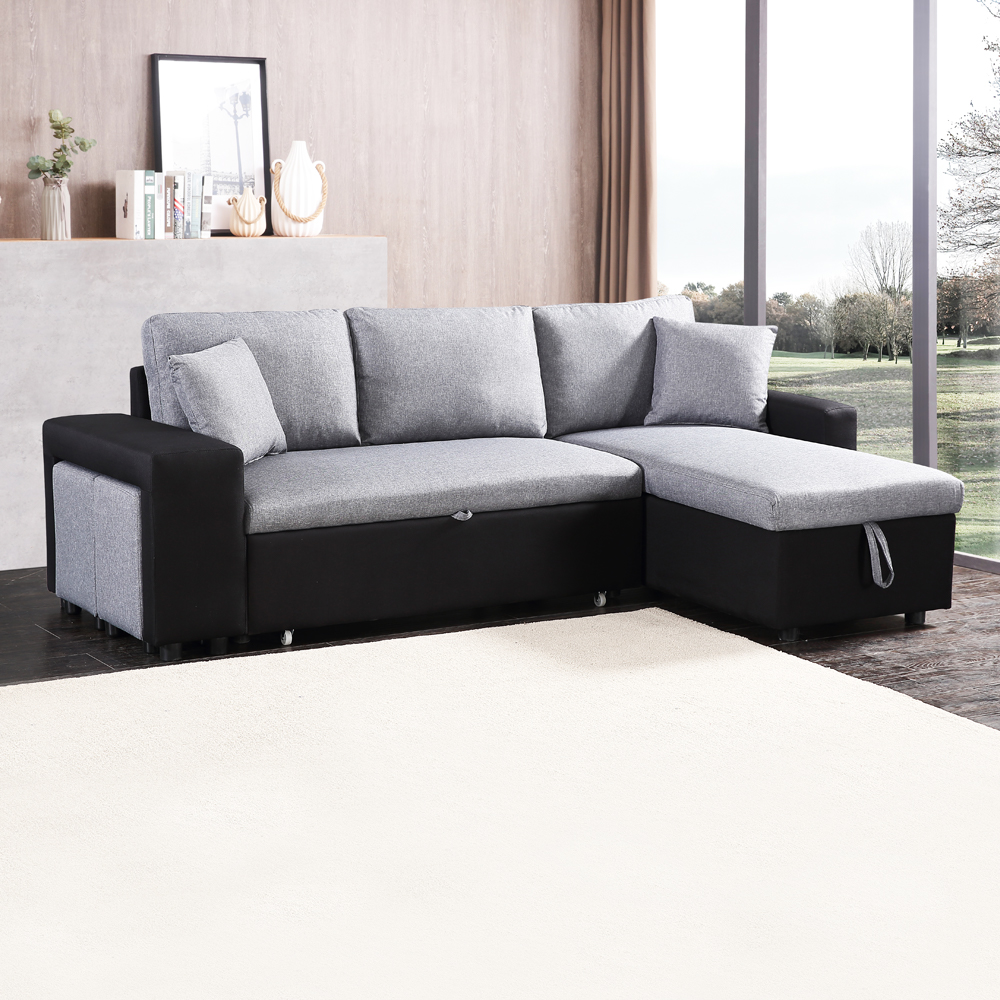 Fabric L-Shaped Sofa + Chaise + Drawer Bed + Storage + 2 Ottoman: (236x146x85)cm, Black/Grey