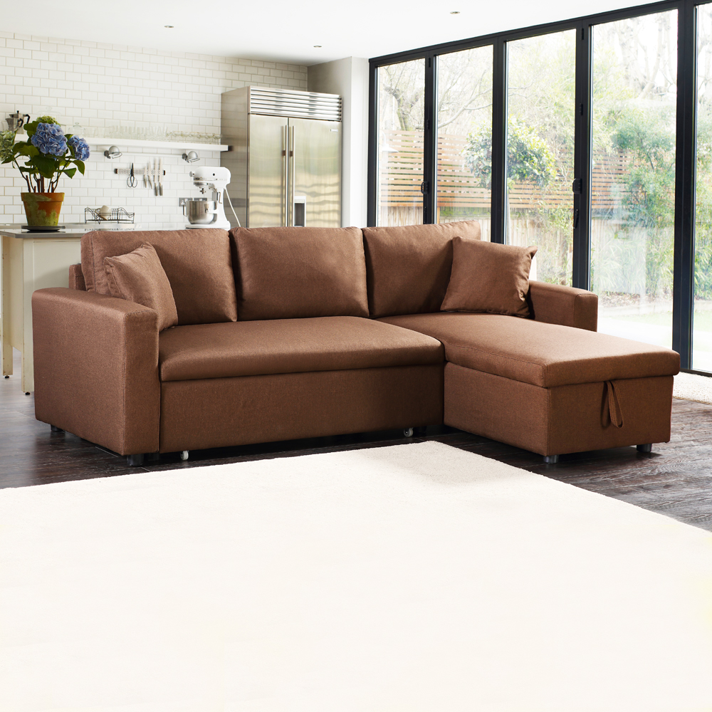 Fabric L-Shaped Sofa + Chaise + Drawer Bed + Storage: (223x146x85)cm, Light Gold