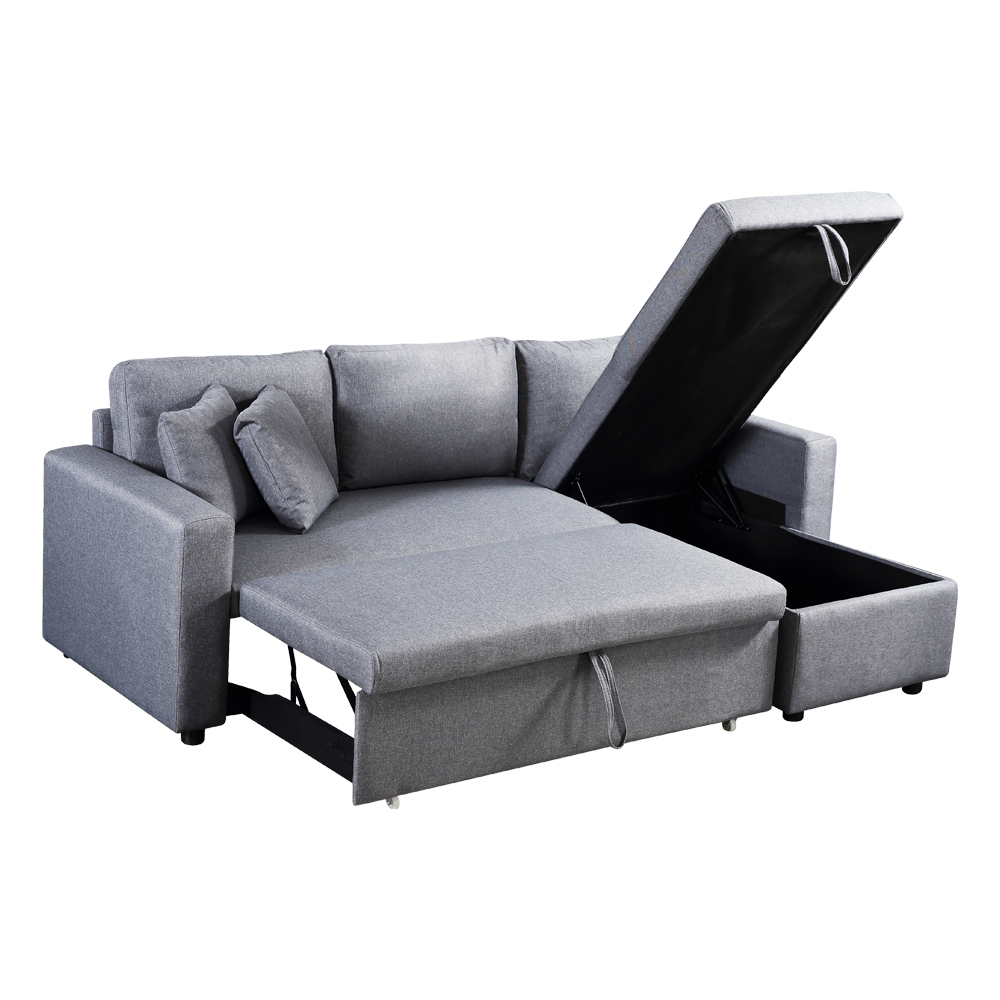 Fabric L-Shaped Sofa + Chaise + Drawer Bed + Storage: (223x146x85)cm, Light Grey 1