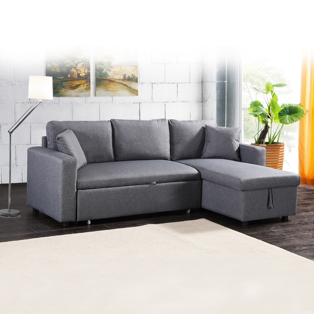 Fabric L-Shaped Sofa + Chaise + Drawer Bed + Storage: (223x146x85)cm, Light Grey