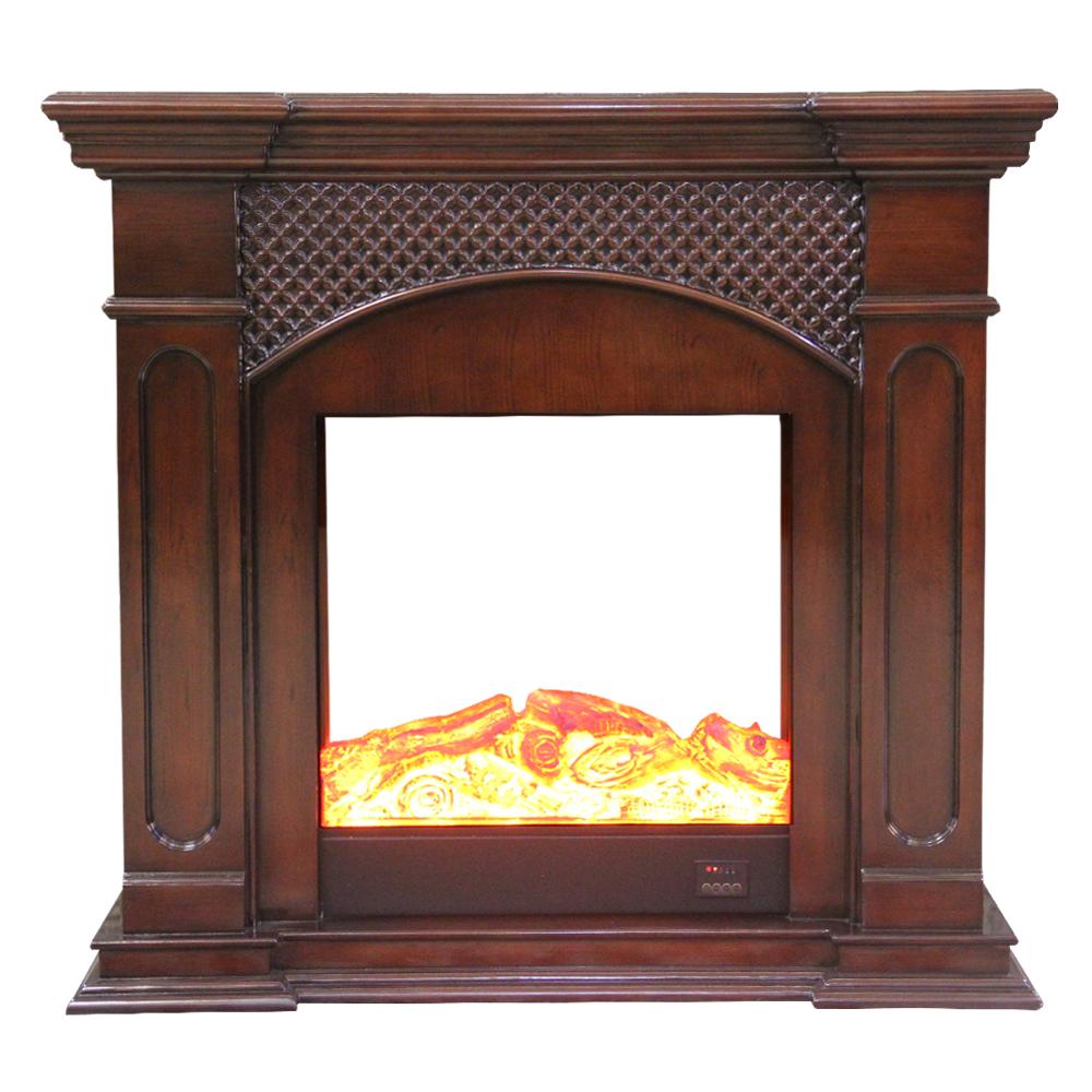 Decorative Fire Place + Heater, Matt Dark Brown 1