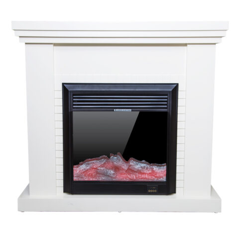 Decorative Fire Place + Heater: (120×32)cm, Ivory White Matt 1