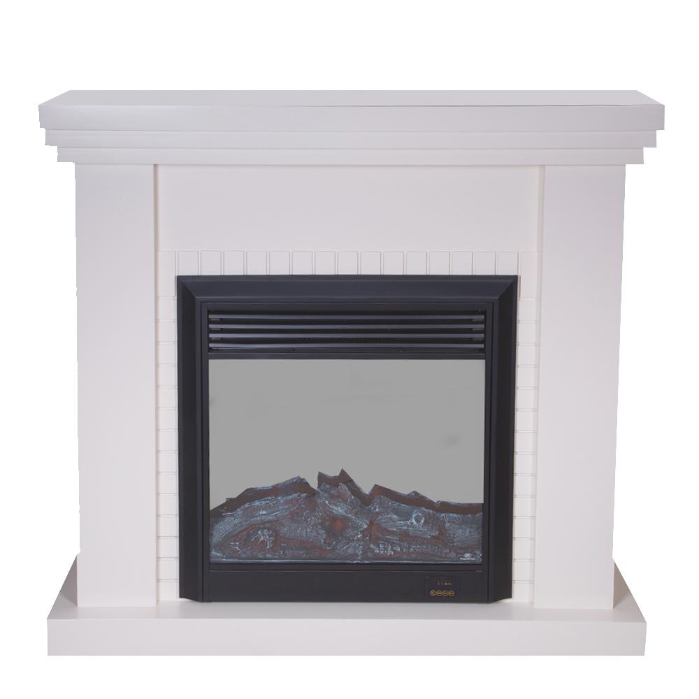 Decorative Fire Place + Heater: (120x32)cm, Ivory White Matt