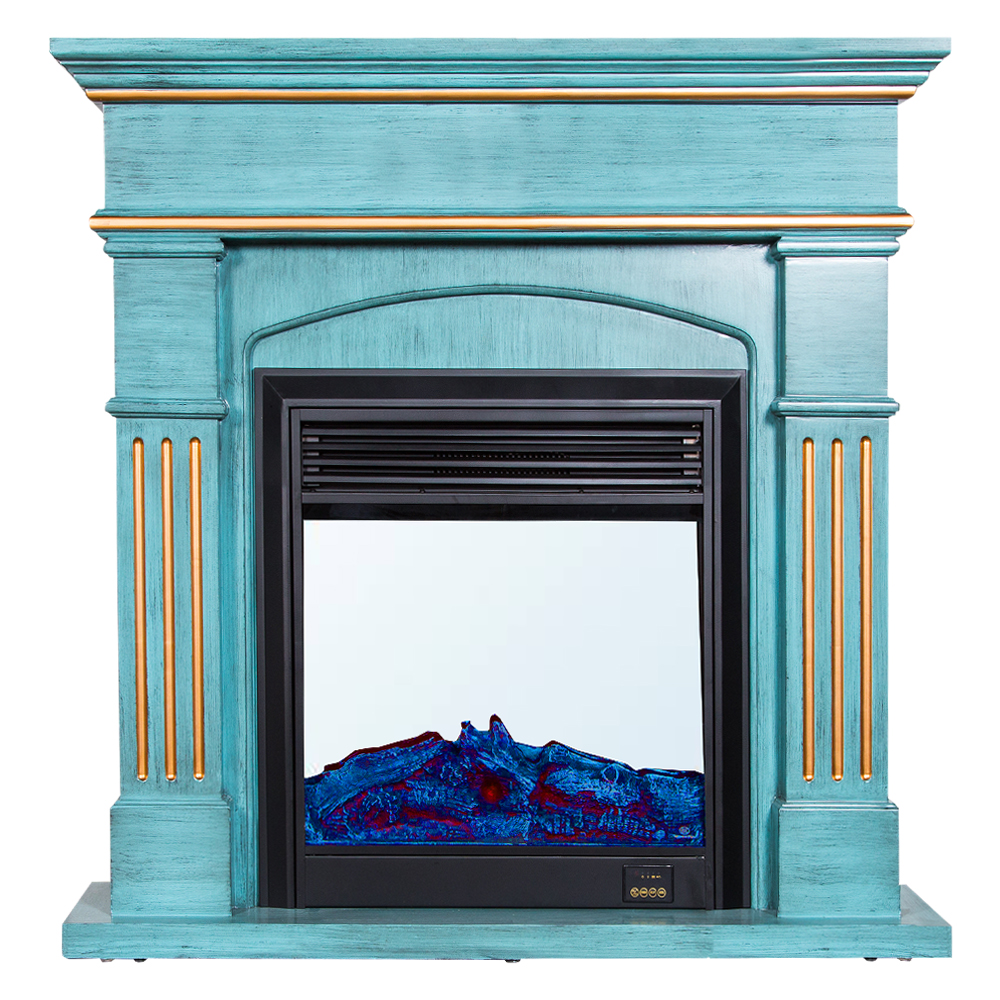 Decorative Fire Place + Heater: (120×32)cm, Green/Gold 1