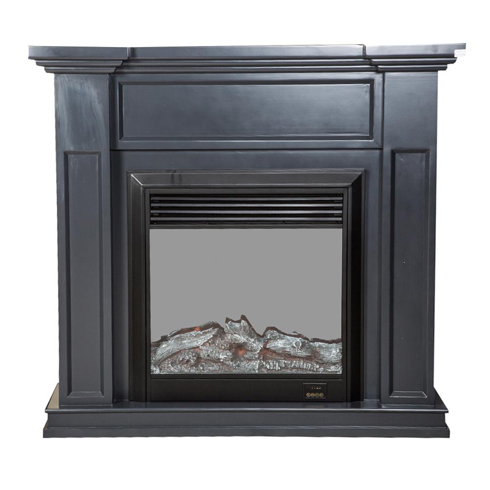 Decorative Fire Place + Heater: (120×32)cm, Dark Grey 1