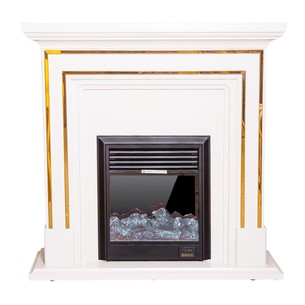 Decorative Fire Place + Heater: (100x32x100)cm, BlueGrey/Gold 1