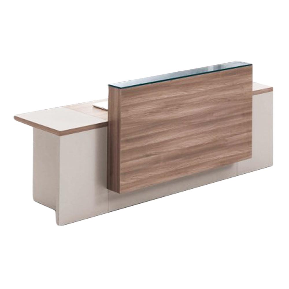 Reception Desk: (240x75x105)cm, Light Walnut/Soft White 1