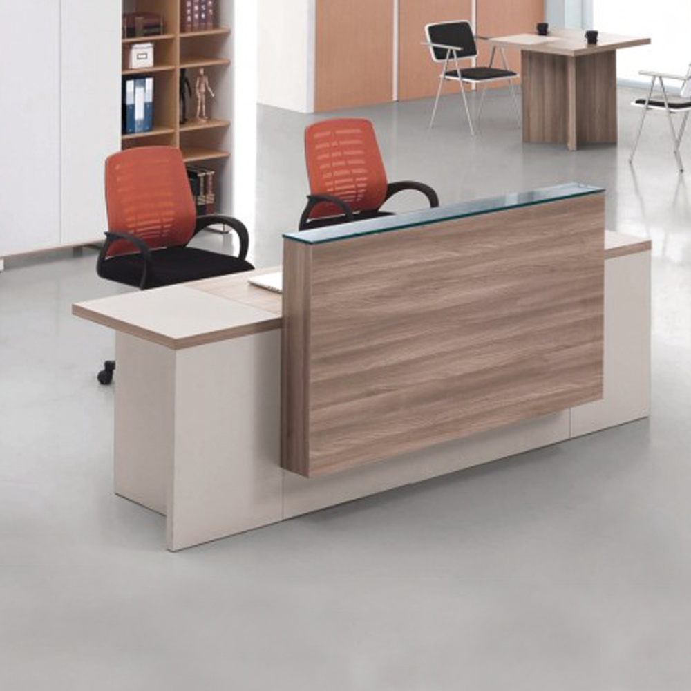 Reception Desk: (240x75x105)cm, Light Walnut/Soft White