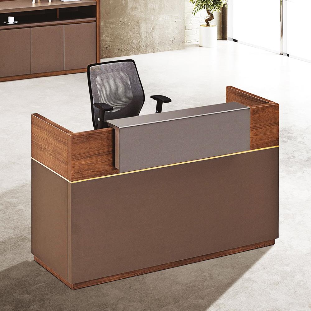 Reception Desk: (160x60x105)cm, KingWalnut/Kano Grey