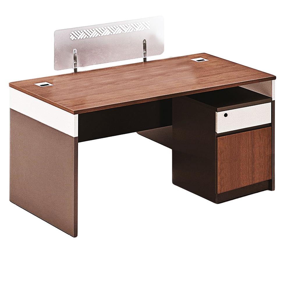 Office Desk + Pedestal; 1 Drawer (1 Door) + Screen Panel; (140x70x75)cm, King Walnut/KanoGrey 1