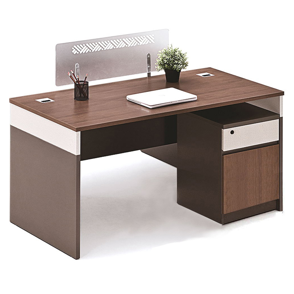 Office Desk + Pedestal; 1 Drawer (1 Door) + Screen Panel; (140x70x75)cm, King Walnut/KanoGrey