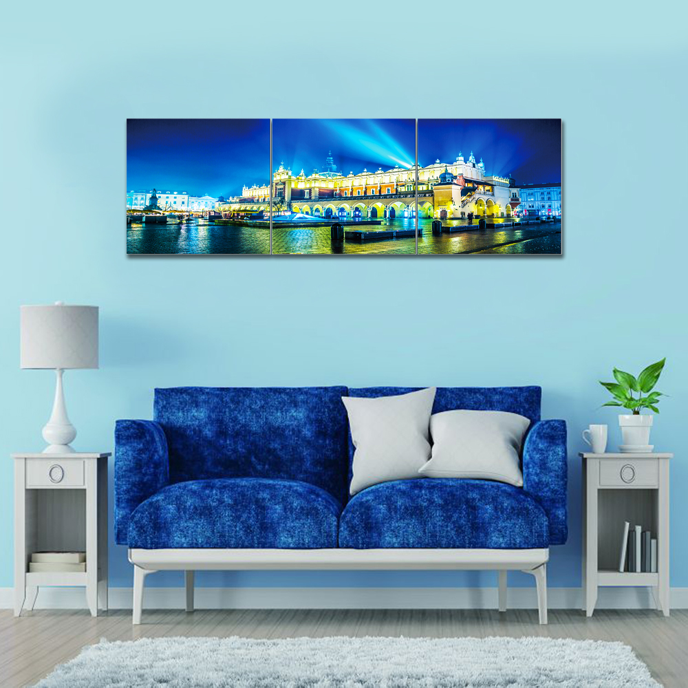 City scape: Printed Painting Set + Frame 3pc: (60x180)cm