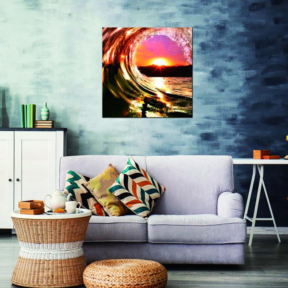Ocean Waves sunrise: Printed Painting + Frame: (100x100)cm
