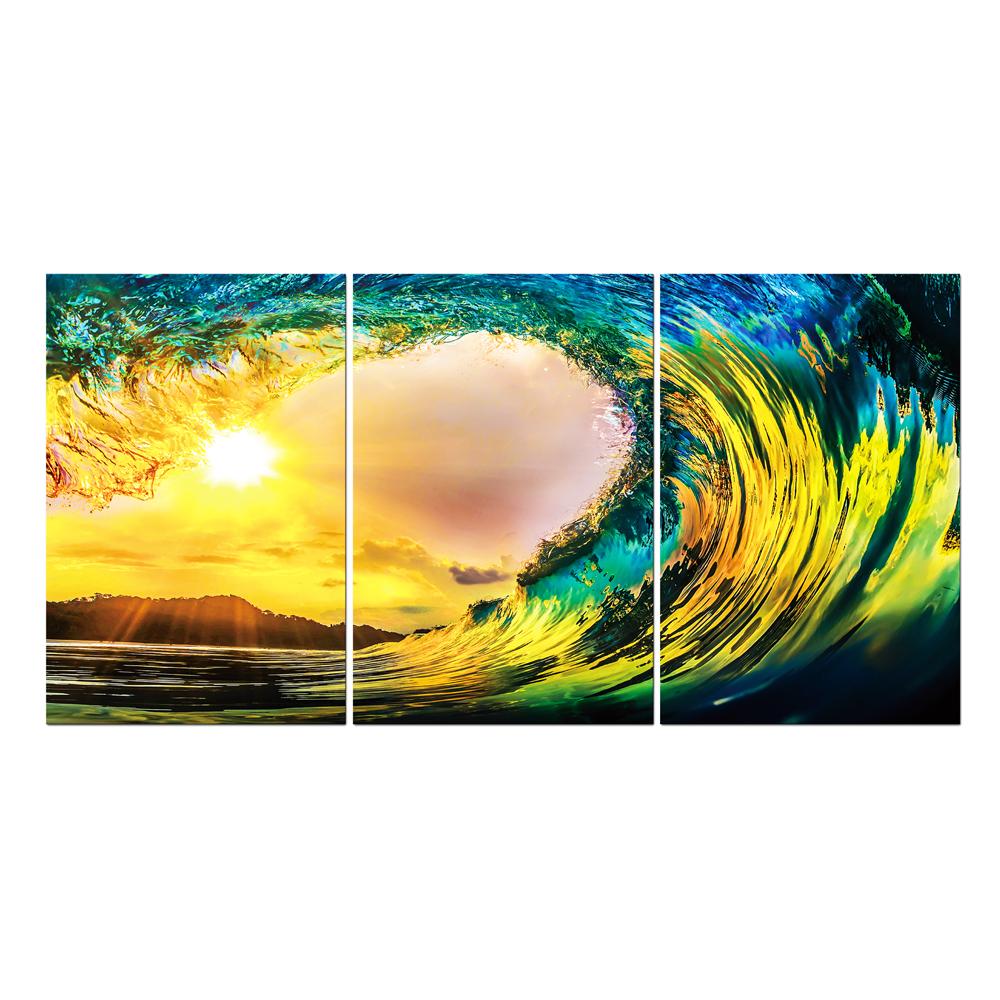 Ocean Wave Sunset: Printed Painting Set, 3pcs + Frame: (90×60)cm  1
