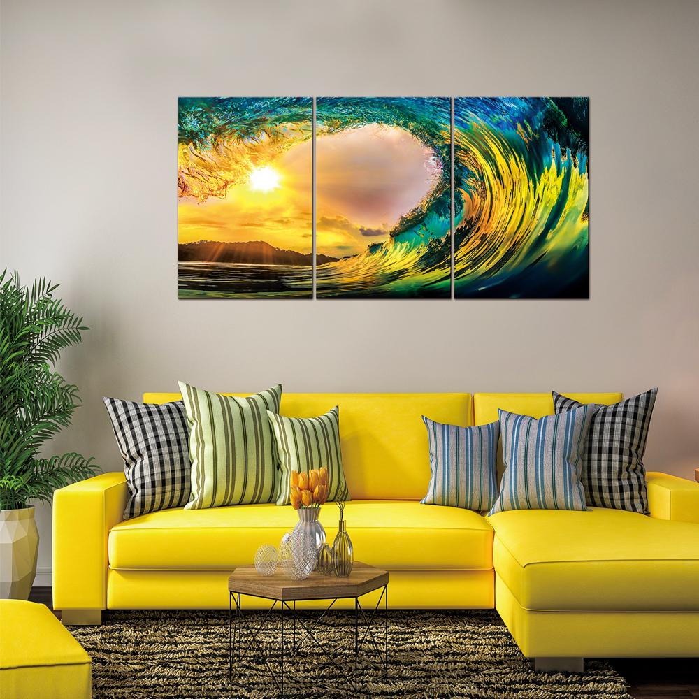 Ocean Wave Sunset: Printed Painting Set, 3pcs + Frame: (90x60)cm