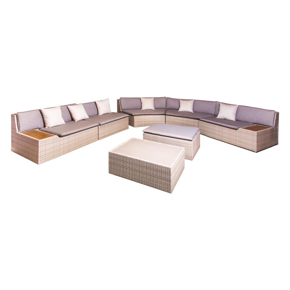 Rattan Furniture Set: Outdoor Corner Sofa Set + 1 Coffee Table + 1 Ottoman, Beige/Grey/Natural 1