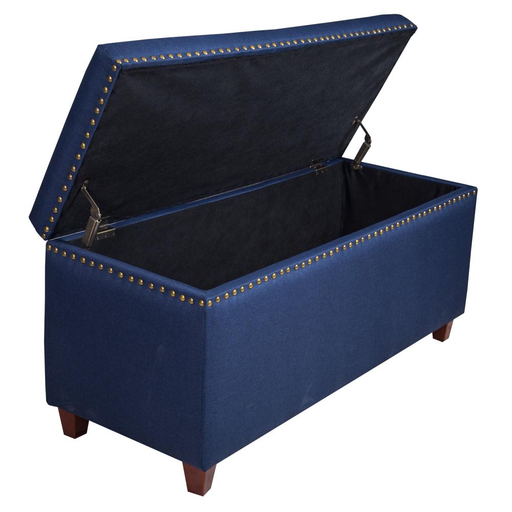 Fabric Storage Chest/Bench; (124.46x48.26x53.34)cm, Sawana Dark Blue