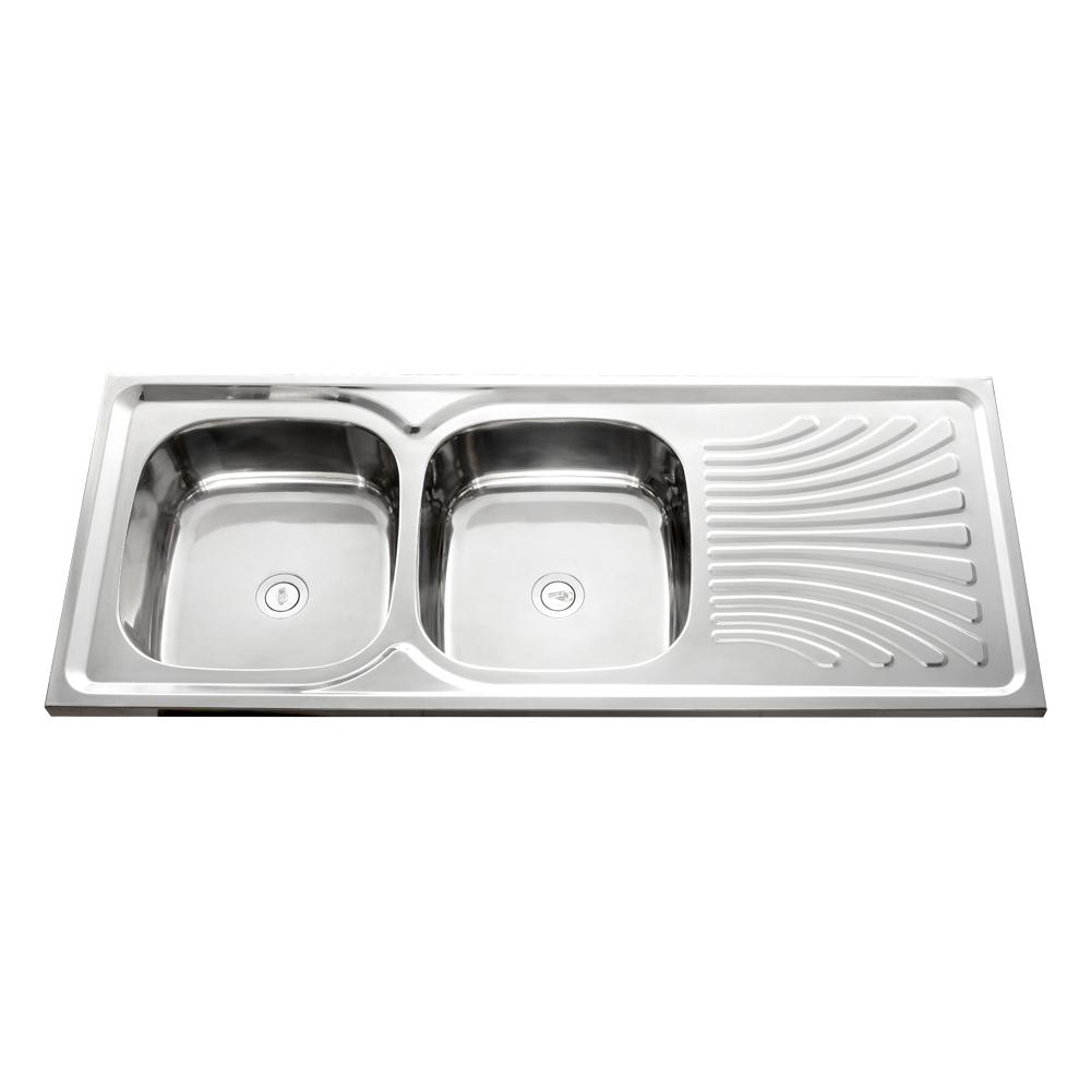 Stainless Steel Kitchen Sink + Waste: DB/SD, (120×50)cm, Satin SS 1