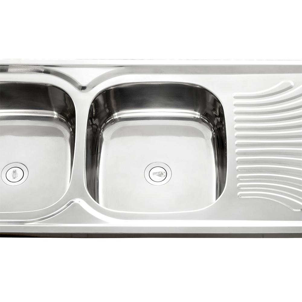 Stainless Steel Kitchen Sink + Waste: DB/SD, (120x50)cm, Satin SS