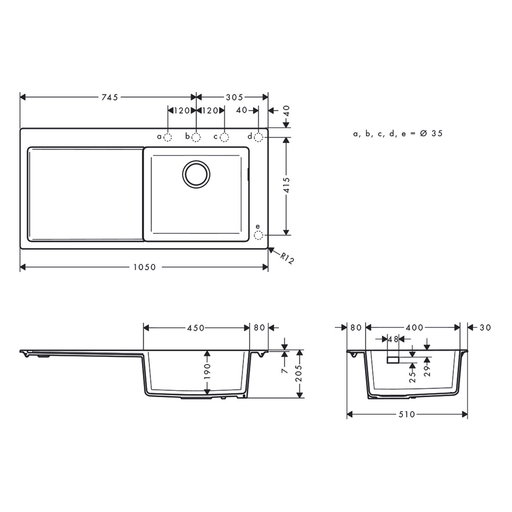 Hansgrohe: Built-In Sink 450 With Drainer, SB/SD