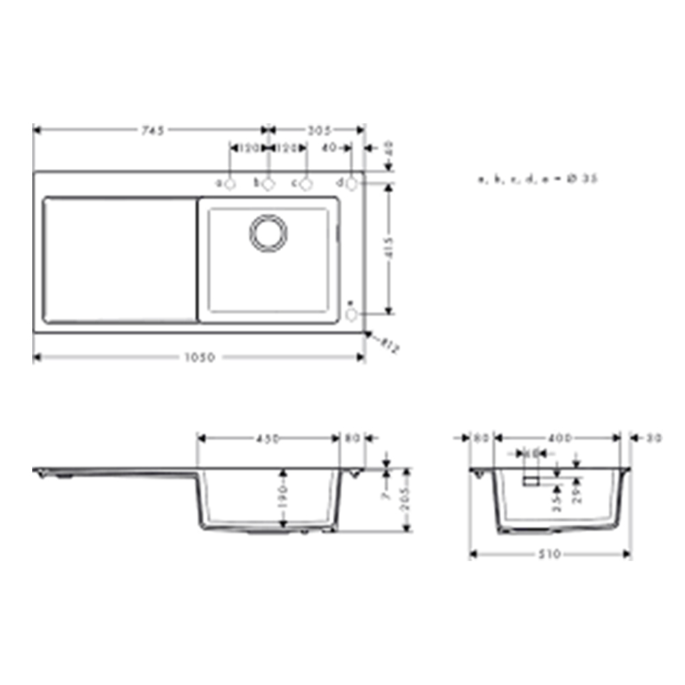 Hansgrohe: Built-In Sink 450 With Drainer, SB/SD; Concrete Grey