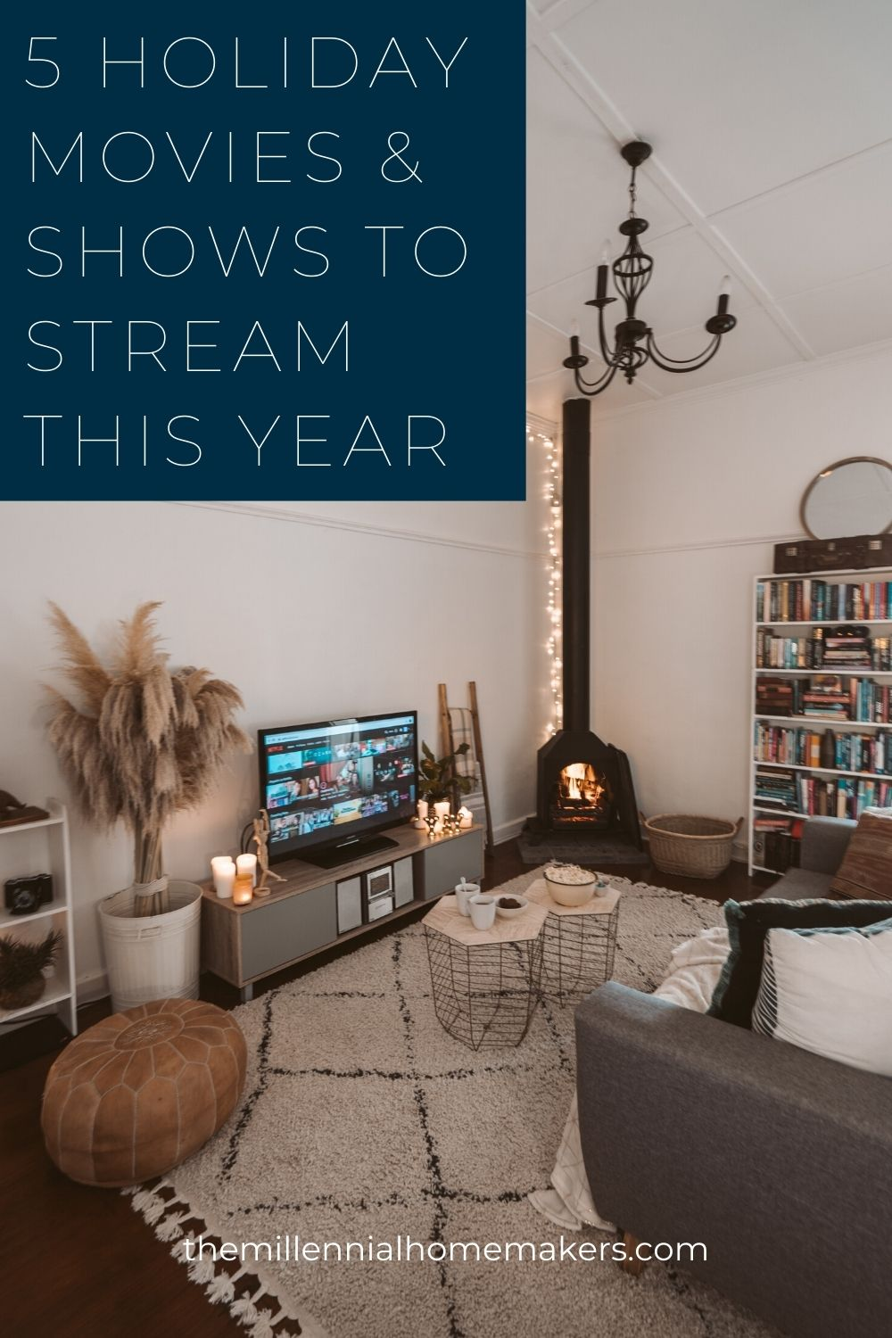cozy and bright living room with streaming service on the TV