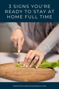 stay at home homemaker cutting green onions on a cutting board